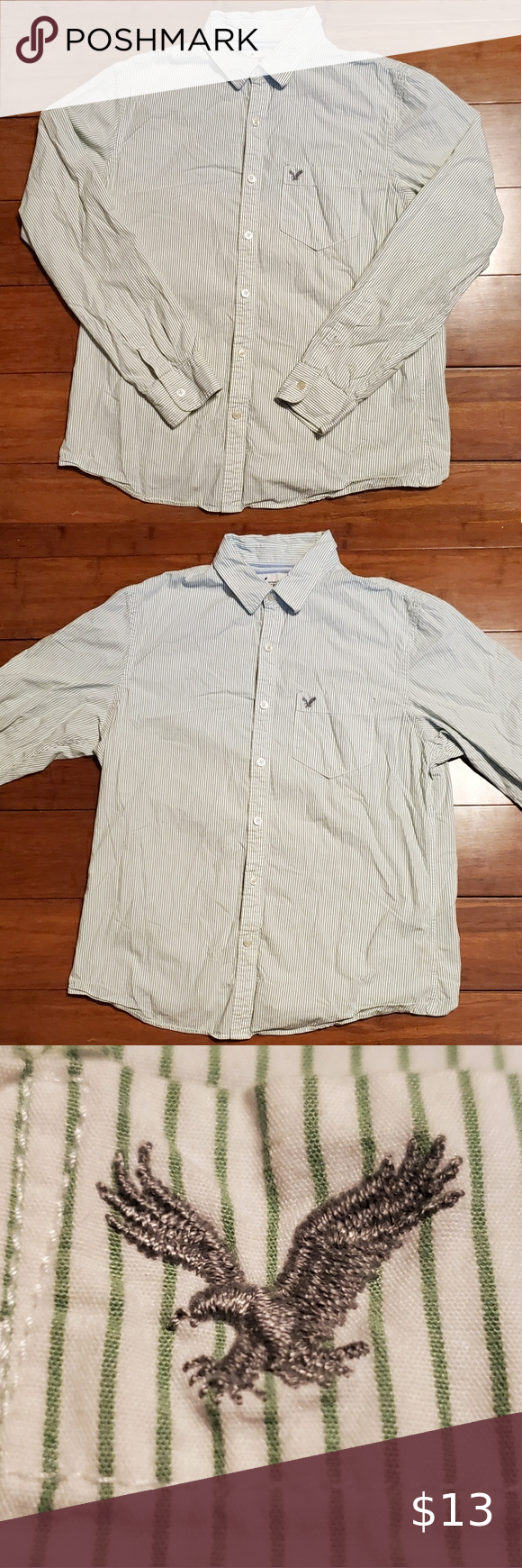American Eagle Men S Dress Shirt Used Like New No Stains Or Tears Green And White And Mens Size L Great Con Mens Shirt Dress American Shirts Running Clothes [ 1740 x 580 Pixel ]