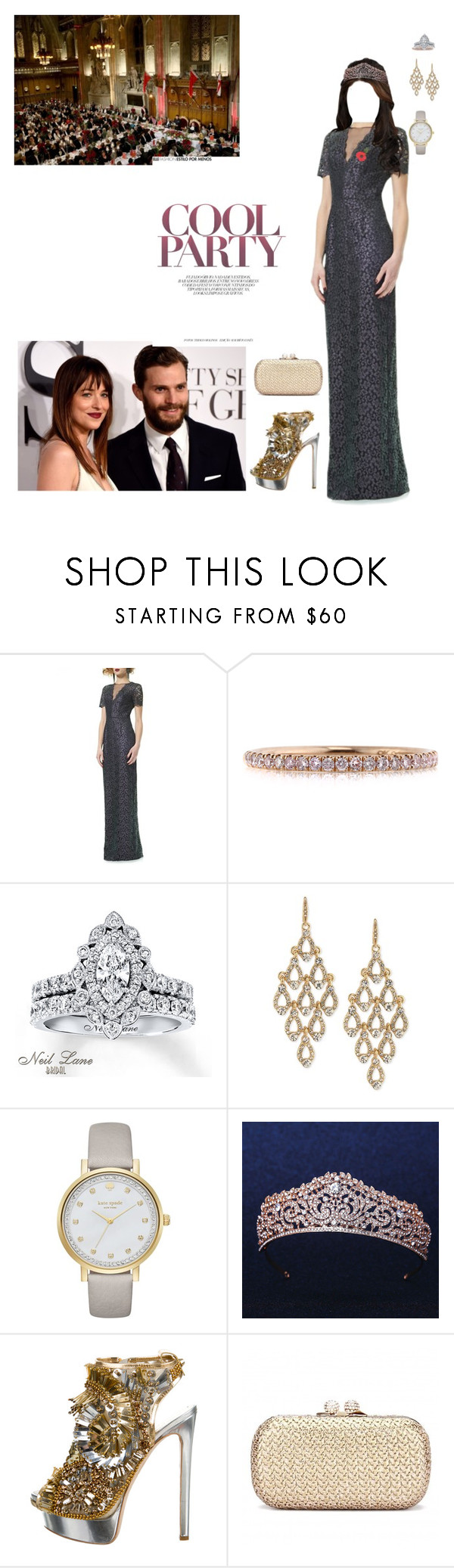 """Attending the State Banquet in honour of the President of Colombia at the Guildhall"" by lady-caroline-havisham ❤ liked on Polyvore featuring Theia, Mark Broumand, Neil Lane, Carolee, Kate Spade, Dsquared2, chic, classy, Elegant and London"