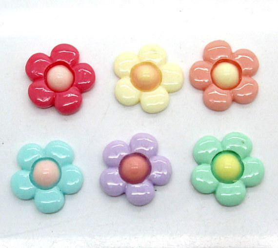 5 Assorted Colors Resin Flower Flatback by creationandsupplies, $3.25