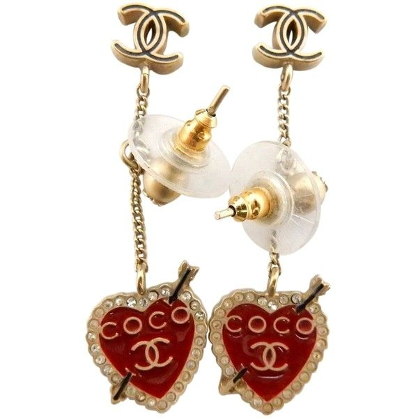 Pre Owned Chanel Dangling Heart Earrings 350 Liked On Polyvore Featuring Jewelry Earrings Accesso Heart Earrings Heart Earrings Studs Earrings