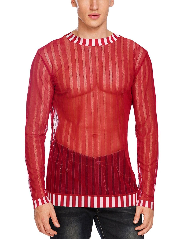 fccec44b Men's Clothing, T-Shirts & Tanks, T-Shirts, Mens Sexy Mesh Sheer See  Through Long Sleeve Tops Clubwear Shirts - Red - C2188UOK4QX #fashion #men  #outfits ...