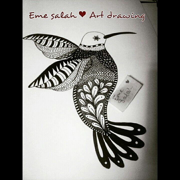 Eme Salah Art Drawing Doodles Doodle Zentangle Bird Black Fine Art Drawing Pencil Art Drawings Art