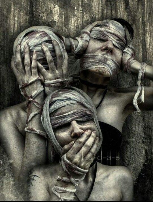 See No Evil Hear No Evil Speak No Evil See No Evil Hear No Evil Speak No Evil Creepy Art Horror Art Portrait