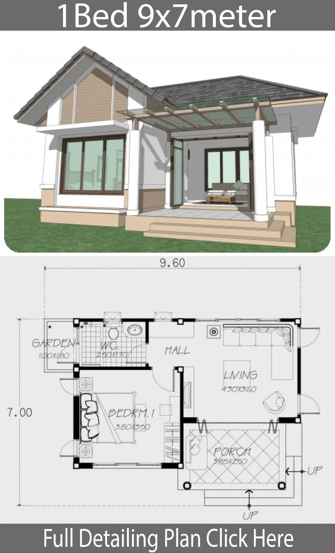 Home Design Plan 9x7m With One Bedroom Home Design With Plansearch Bungalow House Design Home Design Plan Tiny House Floor Plans