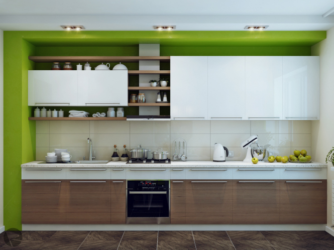 Green White Wooden Kitchen Uses Large White Tiles As Backsplash Impressive Designer Kitchen Tiles Design Ideas