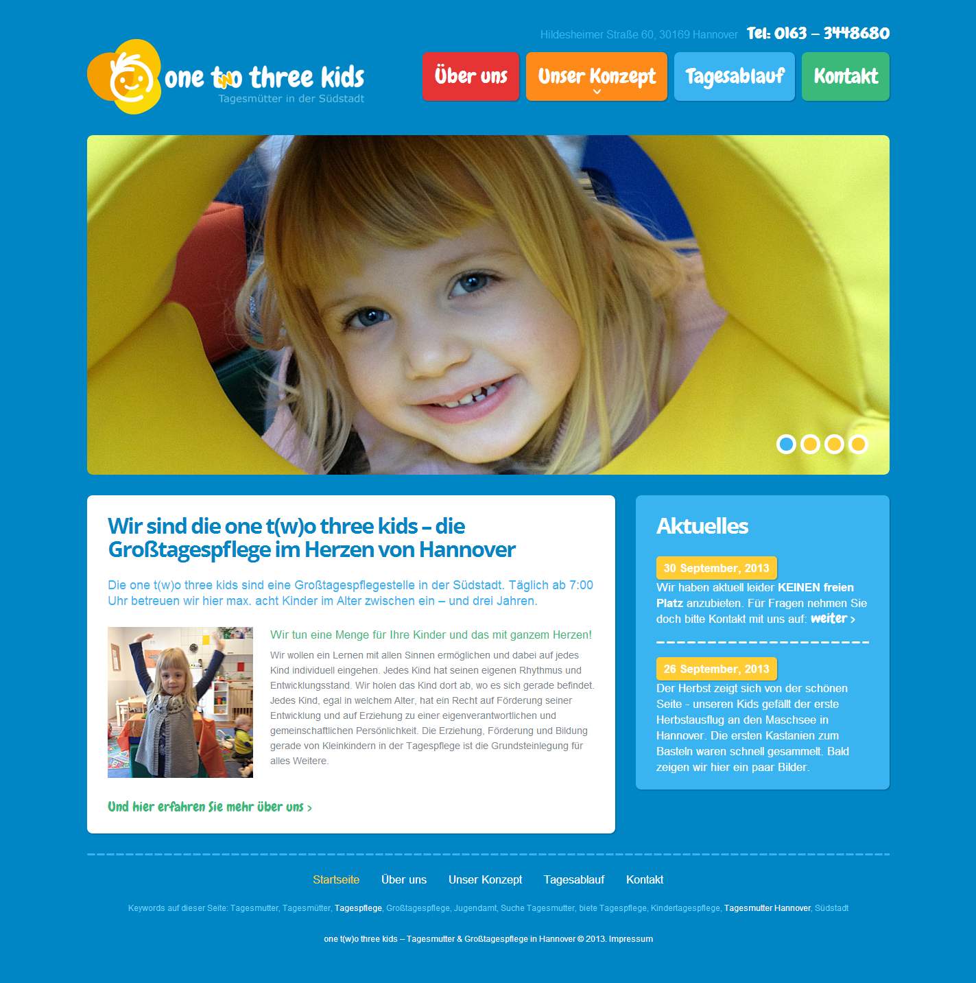 Neue Website: one t(w)o three kids - Tagesmütter in Hannover; Full Responsive – responsives Webdesign; Bootstrap, HTML5 und CSS3