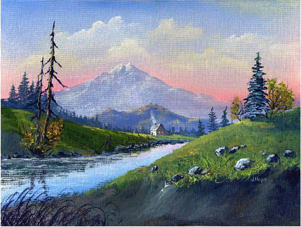 Mountain Scene Acrylic Painting By Jen Unger Taught By Jerry Yarnell School Of Fine Art Mountain Paintings Oil Painting Landscape Fine Art