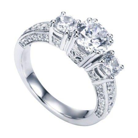 14k White Gold Round Diamond Engagement Ring Wedding Day Diamonds Round Diamond Engagement Rings Wedding Day Diamonds Pave Setting Engagement Ring