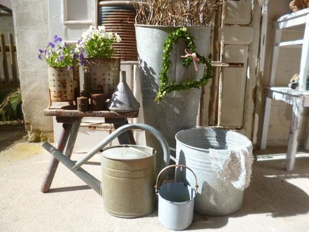 Vintage Garten vintage gartendeko zink schütte pflanztschütte ein