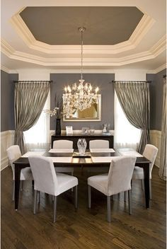 grey and white dining room: the interior of the tray ceiling is