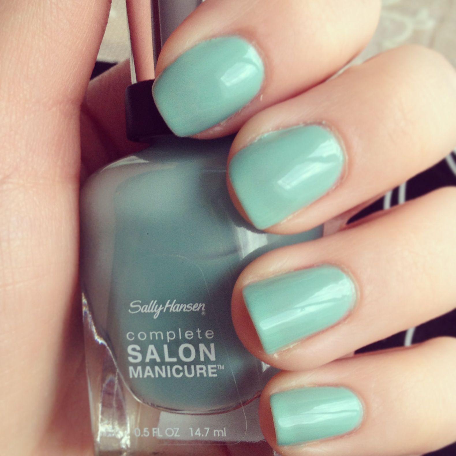 #SallyHansen Complete Salon #Manicure in #Jaded #mintnails #nailcolour #nailart