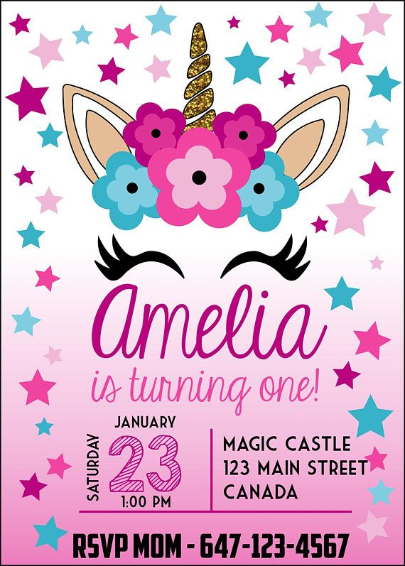 Unicorn themed first birthday party invitation custom made unicorn themed first birthday party invitation custom made personalized girls birthday invite filmwisefo