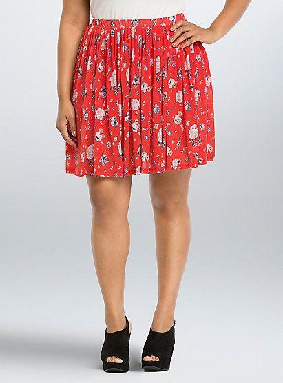 c59b60109a609 Torrid Floral Mesh Skater Skirt Red 00 Med Large 10  96762  fashion   clothing