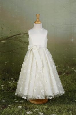 6cbffe77f09 A pretty satin and tulle flower girl dress with embroidered flowers ...