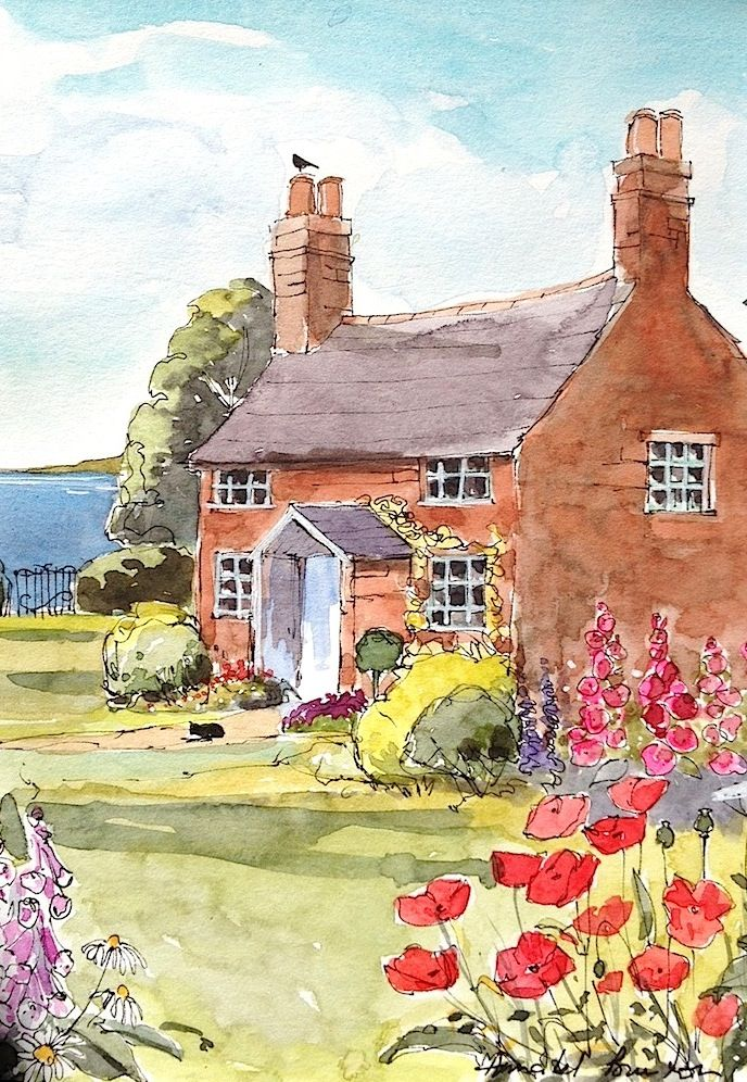 Poppy cottage by annabel burton watercolor painting for Watercolor cottages