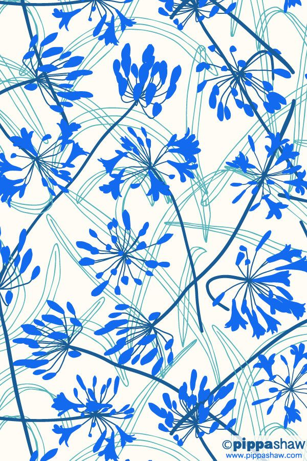 Agapanthus Dance Pattern By Pippa Shaw In 2020 Floral Pattern Wallpaper Floral Prints Pattern Abstract Flowers