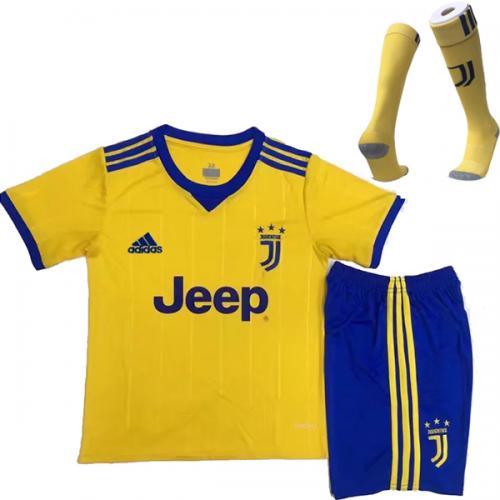 8eb3fb28da7 17-18 Juventus Away Yellow Children's Jersey Whole Kit(Shirt+Short+Socks)