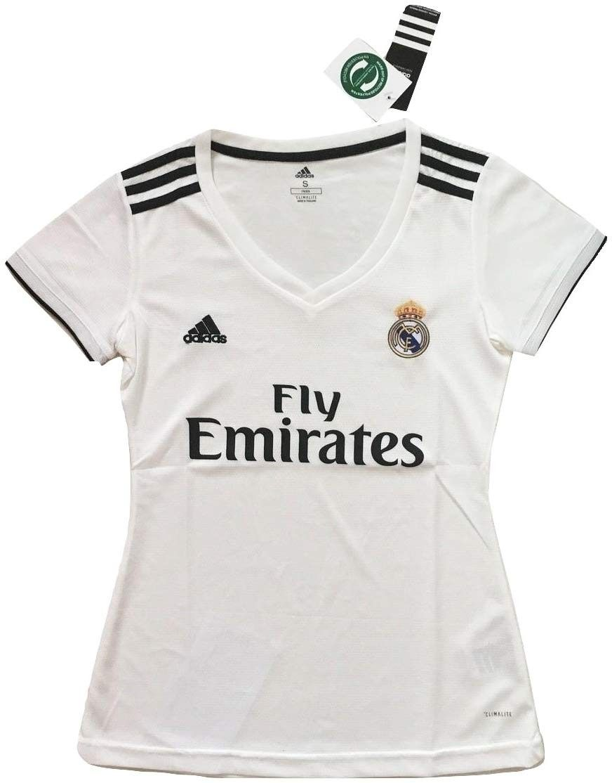 Women's 2018-2019 Real Madrid Home Soccer Jersey White - CR18KM02T7S - Sports & Fitness Clothing, Wo...