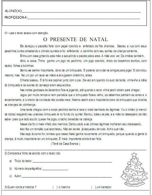 ea758c8e27dc Natal Produção de Texto Interpretação de Texto Atividades Exercícios papai  noel rena trenó imprimir (47
