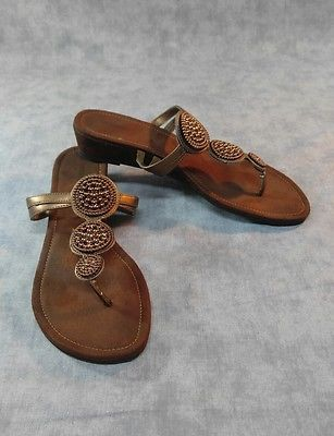 d31829d72 Montego Bay Club Sandals Brown Womens Size 8.5 - Faux Suede Beaded Thongs