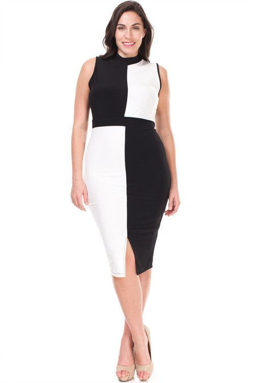 Plus Size Black And White Color Block Dress Fashion Pinterest