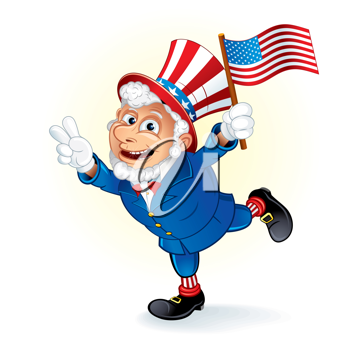 happy cartoon uncle sam with american flag detailed vector rh pinterest com Vintage Patriotic Thanksgiving Clip Art Flamingo Clip Art