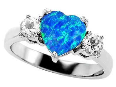 blue heart engagement ring click for more blue engagement rings http - Blue Wedding Ring