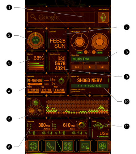 Docomo SH-06D NERV: the coolest smartphone GUI I ever seen!      Check the video.