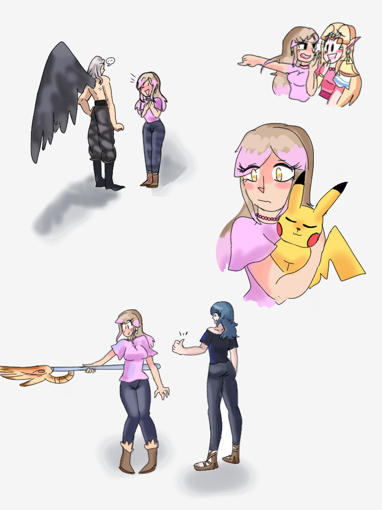 Just Some Doodles Of Myself With Some Smash Bros Characters Smash Bros Super Smash Bros Super Smash Brothers