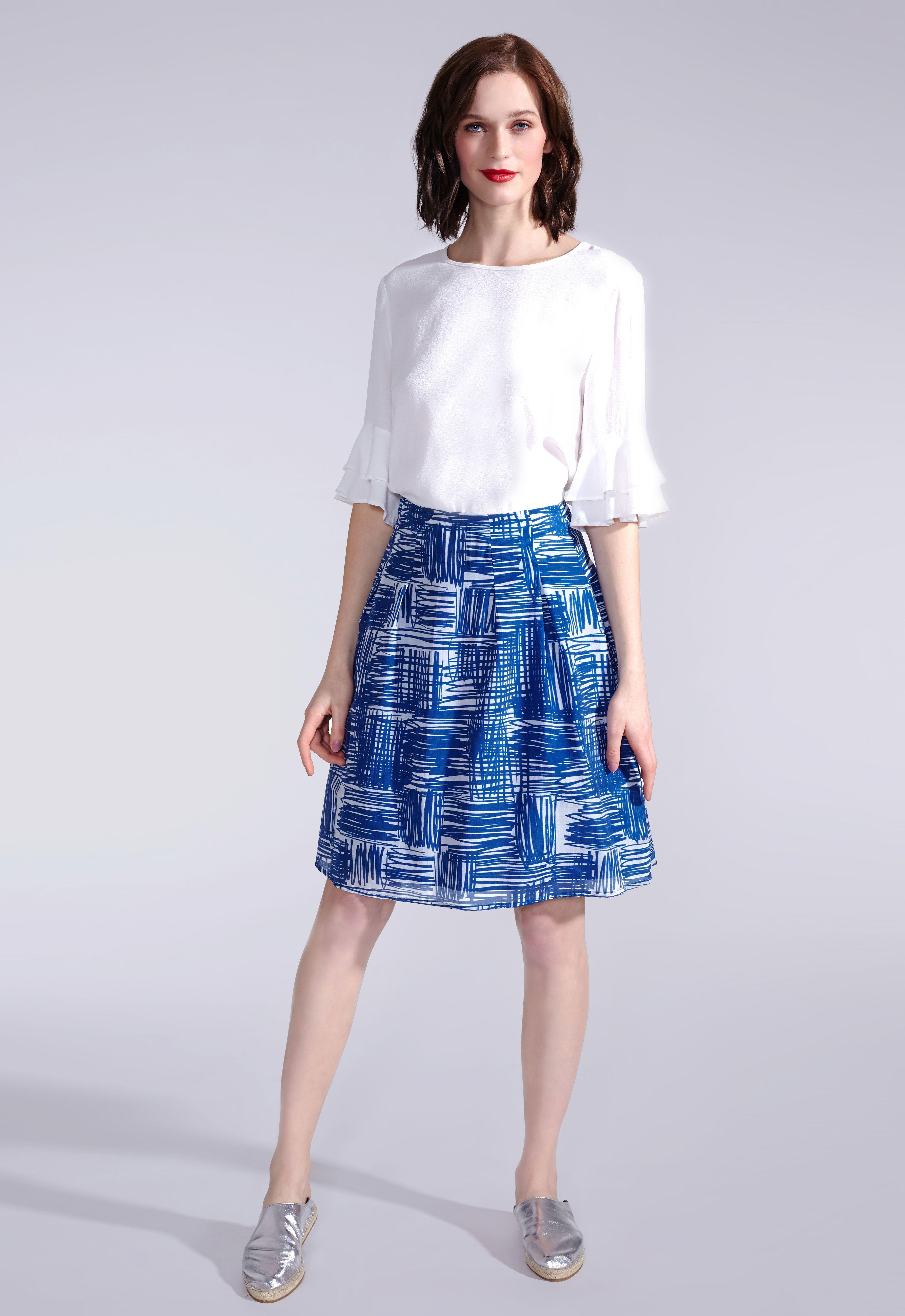 Leichter Sommerrock aus Baumwolle und Seide von KALA Fashion in Blau ...