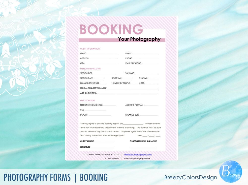 Session Booking Form Photography Forms Printable Editable
