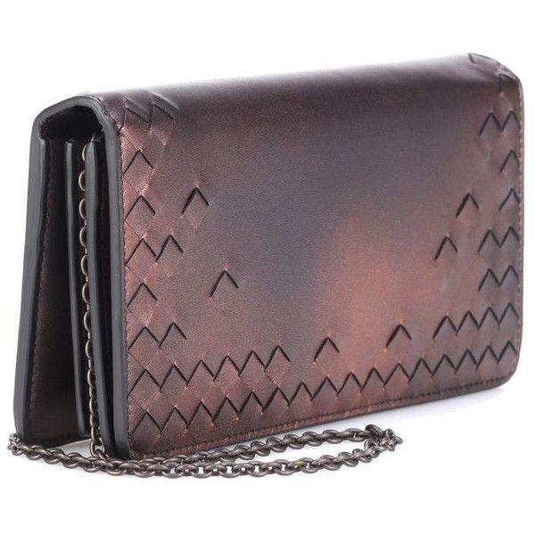 Bottega Veneta Metallic Leather Clutch ($1,180) ❤ liked on Polyvore featuring bags, handbags, clutches, purple leather handbag, metallic leather purse, genuine leather handbags, bottega veneta handbags and real leather purses
