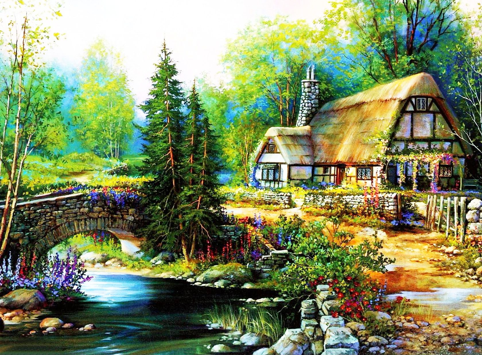 Beautiful Cottage Desktop Wallpapers Bridge Trees
