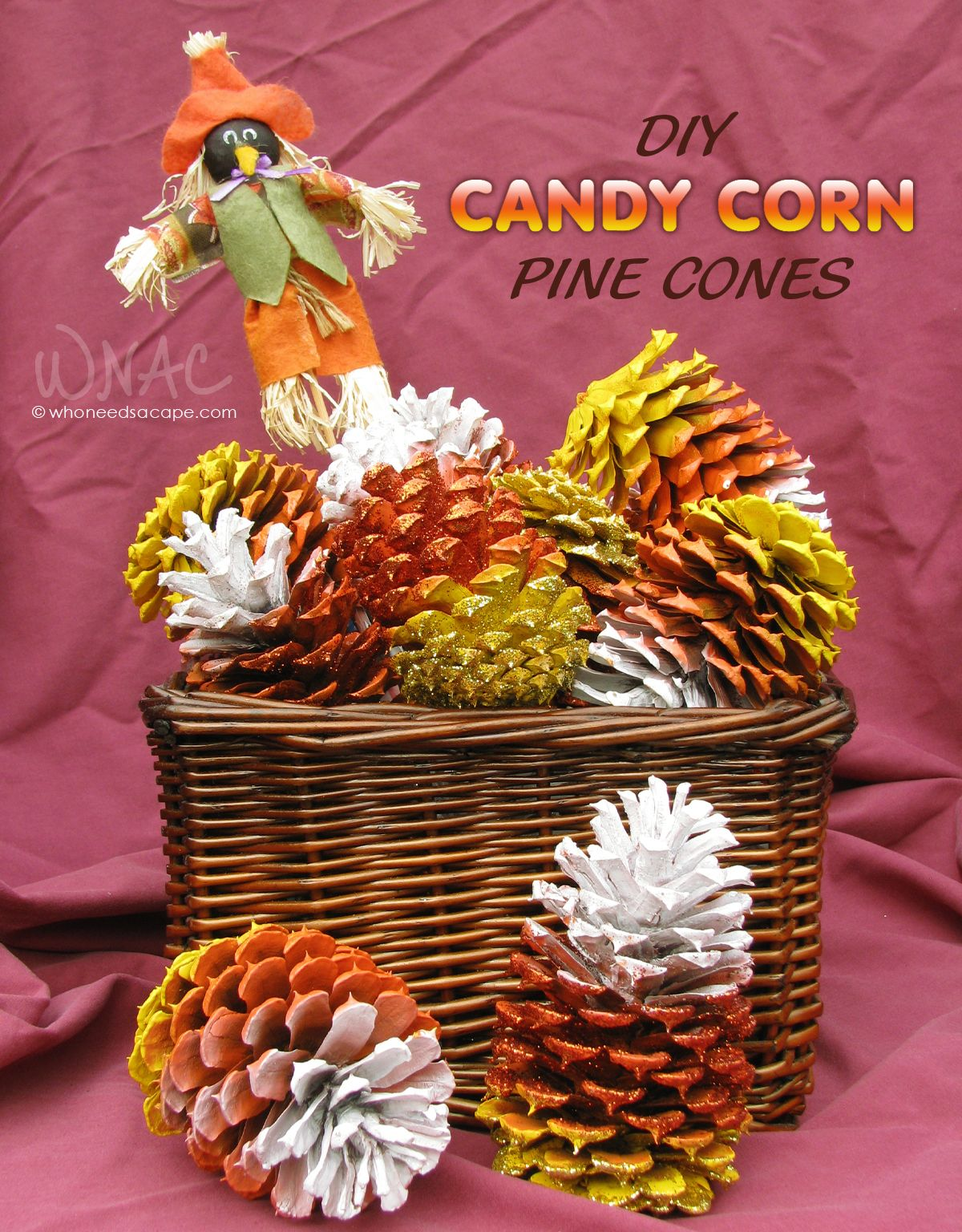 diy candy corn pine cones diy stuff like to try pine. Black Bedroom Furniture Sets. Home Design Ideas