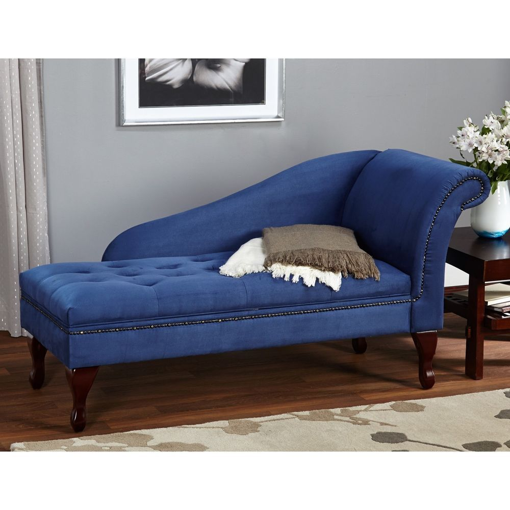 Blue Chaise Lounge Chair Tufted Microfiber Sofa Couch
