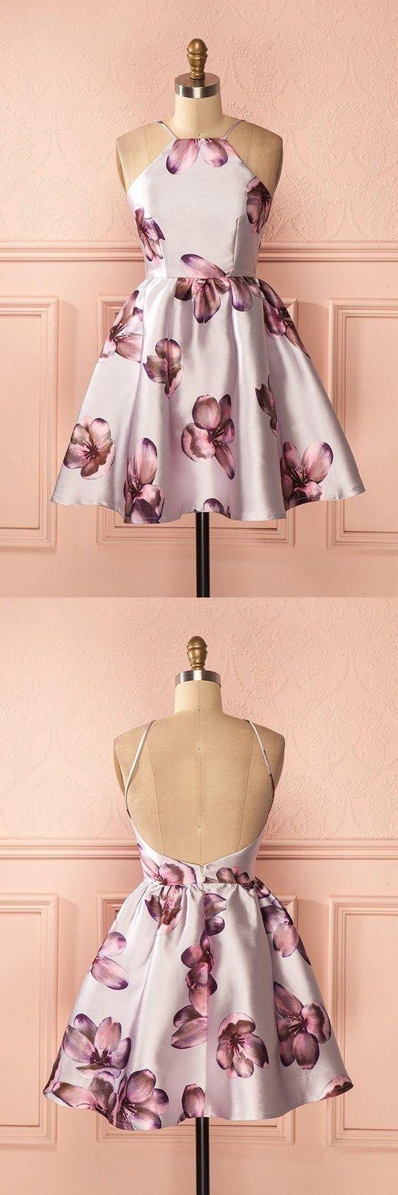 Short prom dresses simple floral homecoming dresses halter