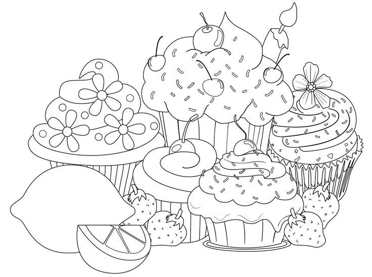 cupcakes drawing pesquisa google adult coloring pagescolouring
