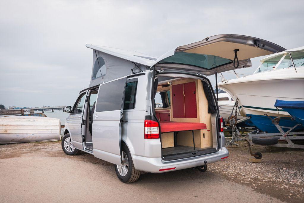 RL. VW T5 camper with red interior T5 camper, Van life