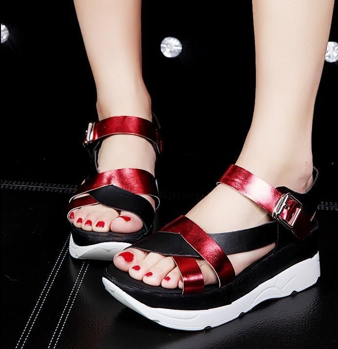 52aab49158f0 Chic Ladies Open Toe Sandals Womens Wedge Heel Ankle Strap Summer Open Toe  Shoes