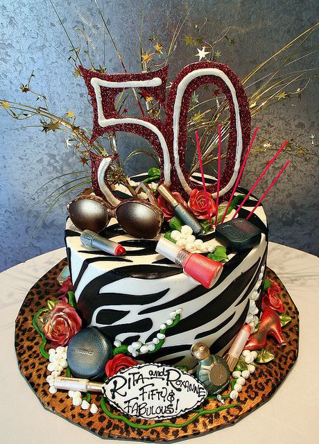 82be0292da7 Fifty   Fabulous Cake~ Party cake with zebra stripes and a big 50 on top.  White chocolate sunglasses