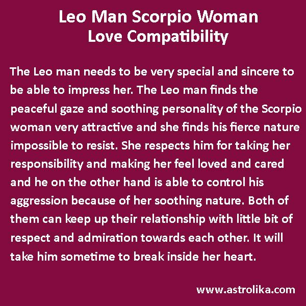 Scorpio man and leo woman love