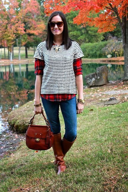 Wake Up Your Wardrobe What I Wore: Layered Fall Layers, Sequin Tee, Plaid Button Up, Tory Burch Riding Boots, Coach Legacy Bag