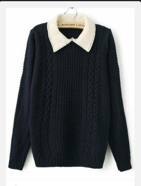 blouse peter pan collar collar top sweater cute