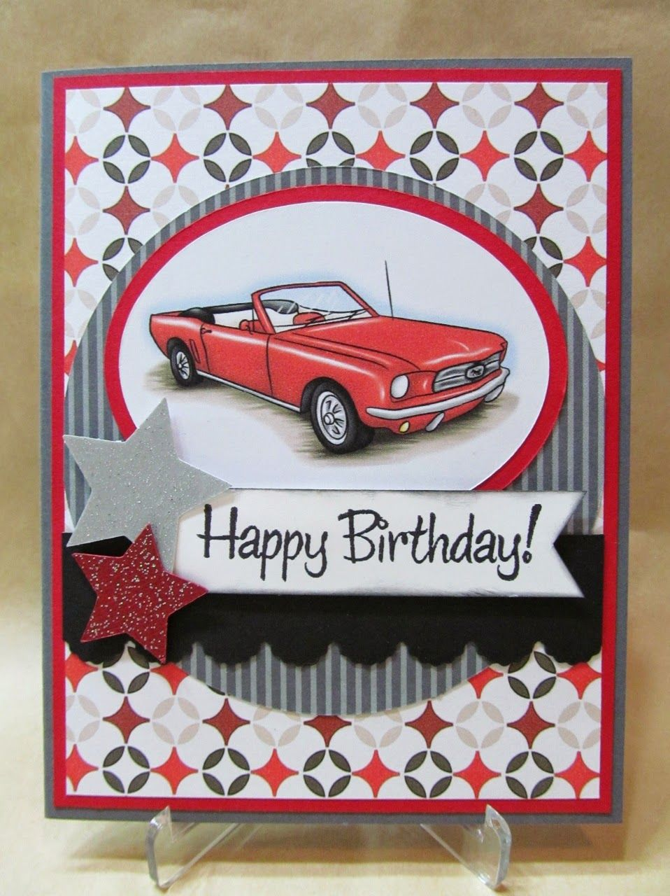Savvy Handmade Cards Classic Car Birthday Card – Vintage Birthday Cards for Men