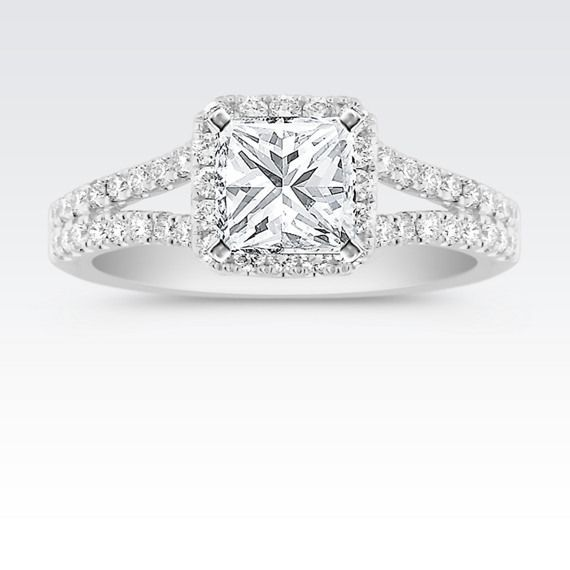 this striking split shank halo engagement ring is one youll daydream about - Square Wedding Rings