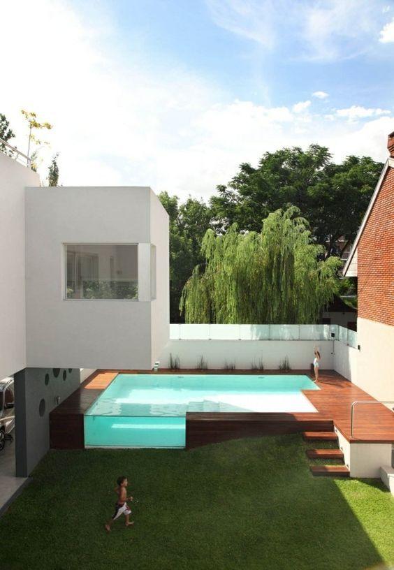 Innenhof gestalten Pool Design Holz Glas | Garten | Pinterest ...