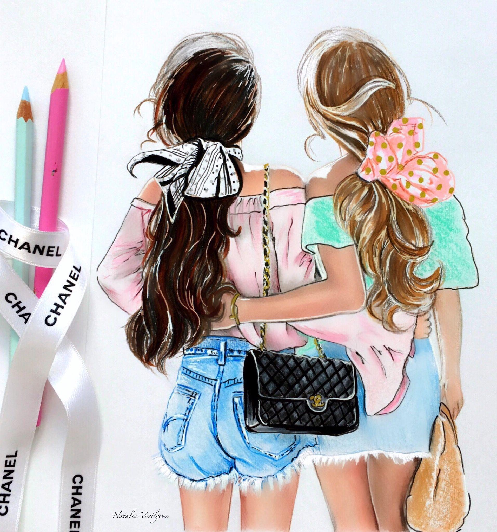 Красивые картинки лучших подруг нарисованные карандашом
