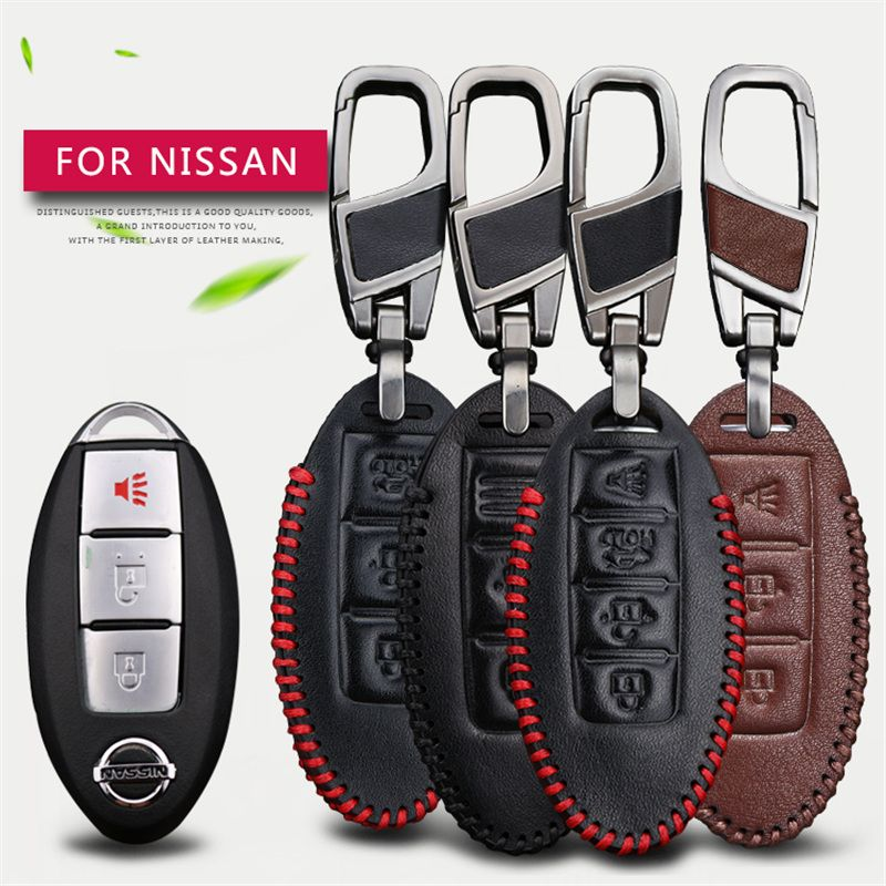 Interior Design Nissan X Trail: Genuine Leather Men Car Key Smart Case Cover Key Chain For