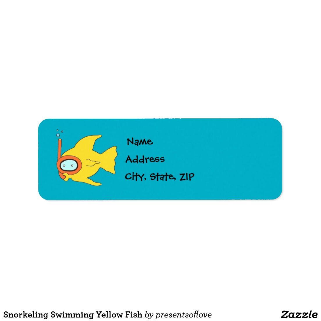 Snorkeling Swimming Yellow Fish Label