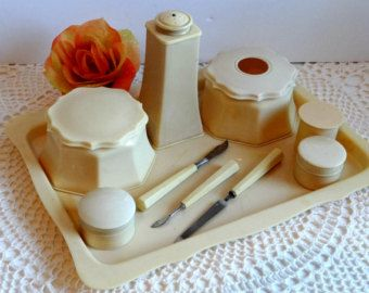 Vintage 1930s Celluloid Vanity Dresser Set Boudoir Gifts For Her Accessories